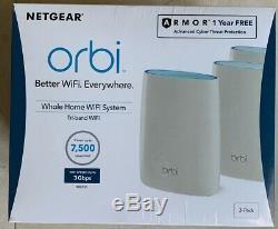 3 Pack NETGEAR Orbi AC3000 Tri-band Whole Home Mesh Wi-Fi System RBK53S