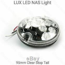 6 RDX LUX LED CLEAR REAR NAS Lights kit Plinths Relay Land Rover Defender