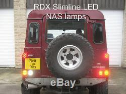 6 RDX Slimline LED REAR NAS Lights Standard Plinth Relay Defender 1994 to 2016
