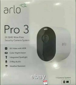 Arlo Pro 3 Camera & Base Station 2K QHD Wire-Free Security Camera System New