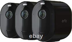 Arlo Pro 4 Spotlight Camera 2K HDR Wire-Free, No Hub Needed, Black, PACK OF 3