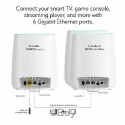 NETGEAR Orbi Whole Home Mesh WiFi System, WiFi router & 2 satellite extenders