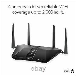NETGEAR RAX50-100NAR Nighthawk 6-Stream AX5400 WiFi Router Certified Refurbished