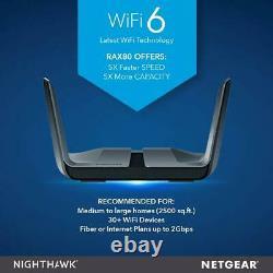 NETGEAR RAX80-100NAR Nighthawk AX8 8-Stream WiFi 6 Router -Certified Refurbished