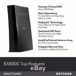NETGEAR WiFi Mesh Range Extender EX8000 AC3000 Tri-Band Wireless Signal Booster