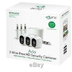 NEW Netgear Arlo Camera Wireless Home Security System 3 Packs + 3 Wall Mounts