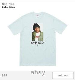 Supreme Nasty Nas FW17 Photo Tee-Shirt Pale Blue Size L Large BNWT SEALED DS