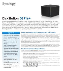 Synology 4 Bay NAS DiskStation DS916+ 8Gb RAM Diskless PLEX GREAT Condition